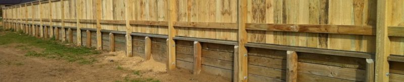 retaining wall and timber fence